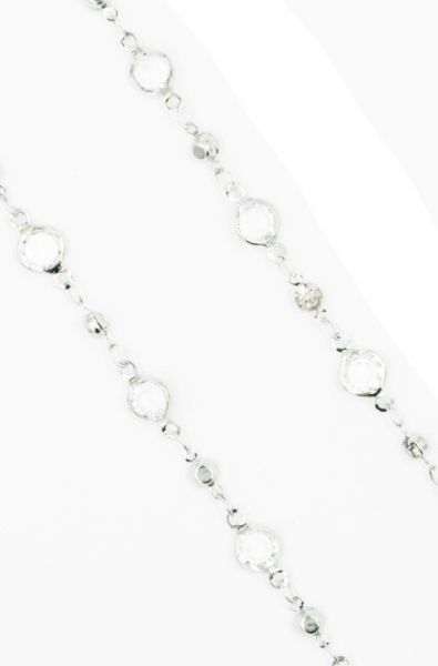 Silver necklace with clear crystal 40 inch/100cm